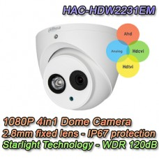 MINI TELECAMERA DOME STARLIGHT 4IN1 1080P 2.8MM WDR DAHUA - HAC-HDW2231EM